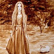 """Картины и панно ручной работы. Ярмарка Мастеров - ручная работа Кофейный рисунок """"Алиса и белый кролик"""". Handmade."""