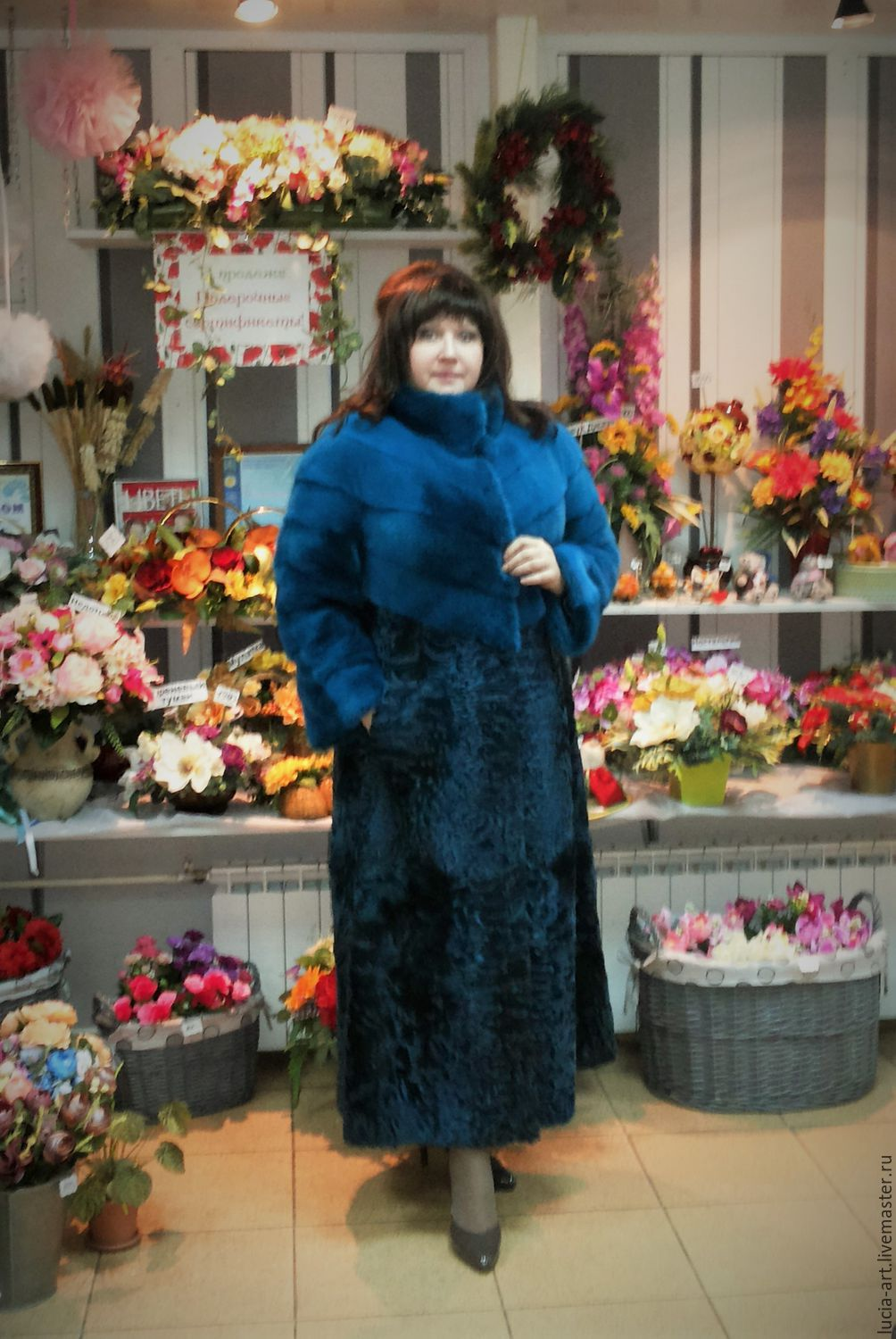 Fur coat mink with lambskin turquoise . LARGE size, Fur Coats, Moscow,  Фото №1