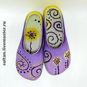 """Обувь ручной работы. Ярмарка Мастеров - ручная работа """"Фиолетовый цвет"""", войлочные домашние тапочки. Handmade."""