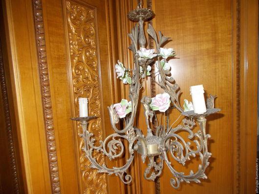 Винтажные предметы интерьера. Ярмарка Мастеров - ручная работа. Купить Люстра  Путти в розах  винтаж италия. Handmade. Комбинированный