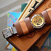 ручной работы. Ярмарка Мастеров - ручная работа Часы коричневые механические скелетон наручные Mr.Brown. Handmade.