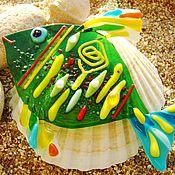 Для дома и интерьера ручной работы. Ярмарка Мастеров - ручная работа Зеленая рыбка из стекла. Фьюзинг Декор.. Handmade.