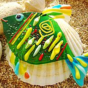 Для дома и интерьера handmade. Livemaster - original item Green fish glass. Fusing Decor.. Handmade.