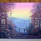 Картины и панно ручной работы. Ярмарка Мастеров - ручная работа Розовый вечер (светится в темноте). Handmade.
