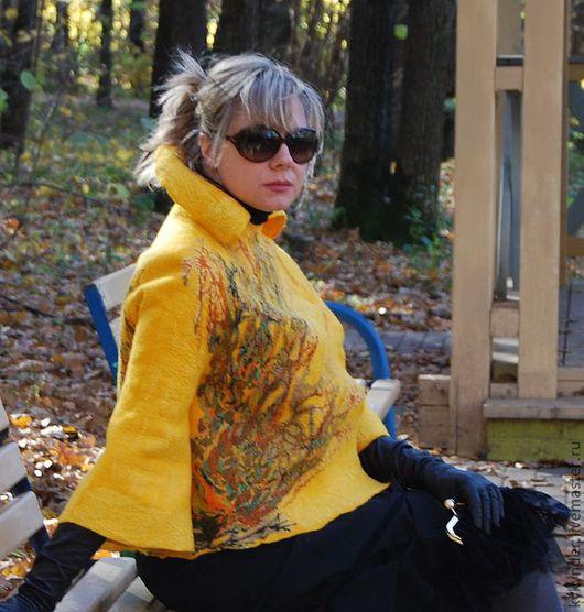 """Верхняя одежда ручной работы. Ярмарка Мастеров - ручная работа. Купить Пальто валяное """"Осенняя экспрессия"""". Handmade. Желтый"""