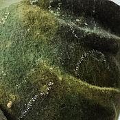Аксессуары ручной работы. Ярмарка Мастеров - ручная работа Войлочная легкая шапочка Лесная зелень зеленая валяная. Handmade.