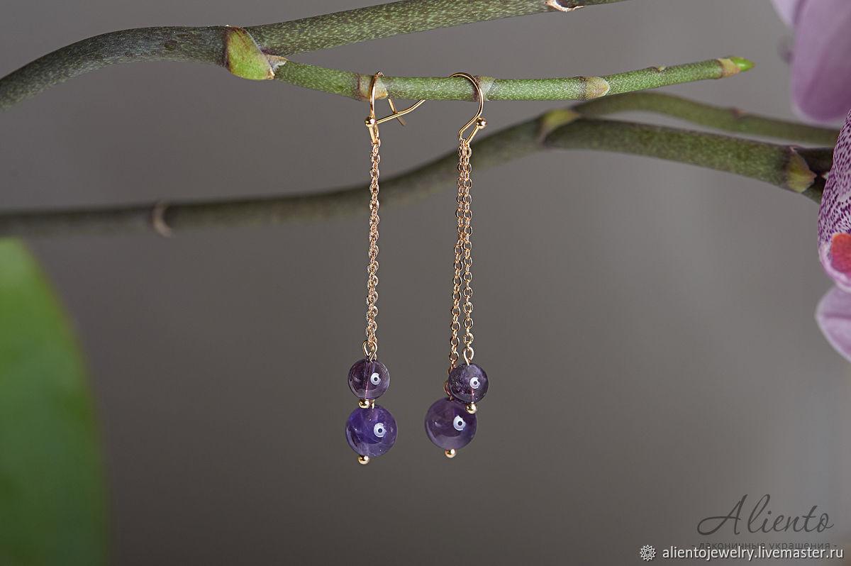 Long earrings in gold with amethyst, Earrings, Moscow,  Фото №1