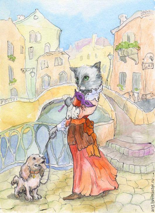 Животные ручной работы. Ярмарка Мастеров - ручная работа. Купить Кошка и Венеция Авторский принт. Handmade. Разноцветный, кот