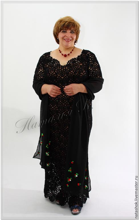 Большие размеры ручной работы. Ярмарка Мастеров - ручная работа. Купить платье Соблазн с палантином. Handmade. Черный, платье в пол