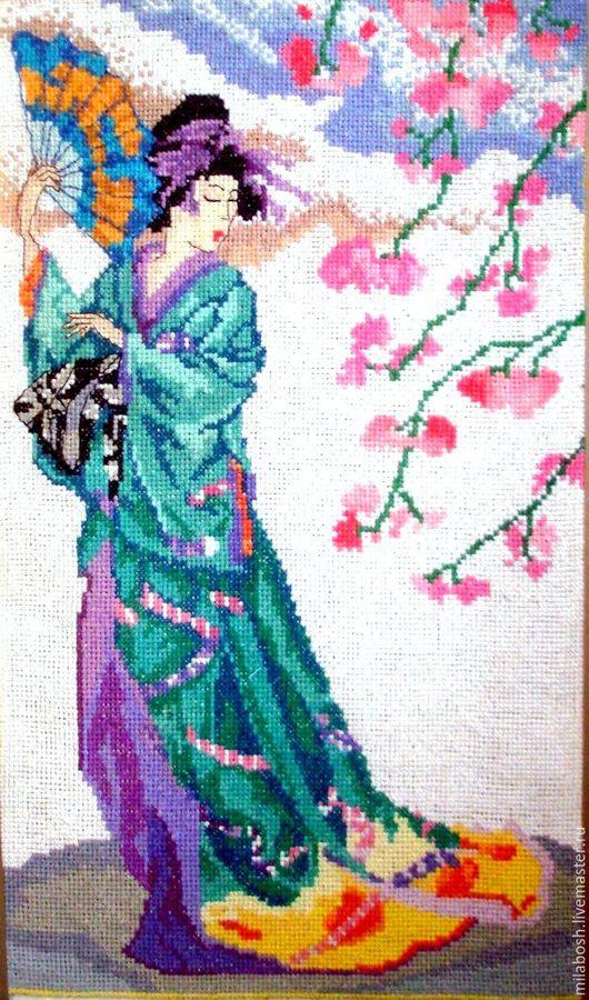 """Люди, ручной работы. Ярмарка Мастеров - ручная работа. Купить Вышитая картина """"Японочка"""" (72 цвета). Handmade. Вышивка"""