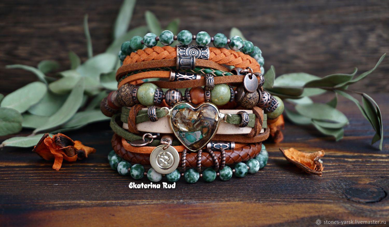 Wide bracelet with stones in the Boho style ' BOHOleto', Bead bracelet, Moscow,  Фото №1