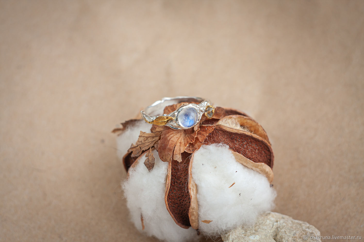 Unusual silver ring with a moonstone and gold leaf, Rings, Moscow,  Фото №1
