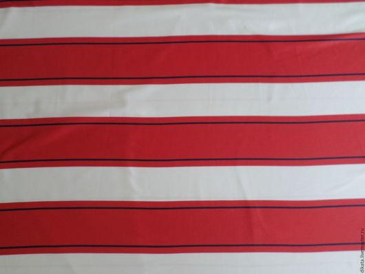 """Шитье ручной работы. Ярмарка Мастеров - ручная работа. Купить Хлопковый сатин """"Широкая красная полоска"""". Handmade. Белый, германия"""
