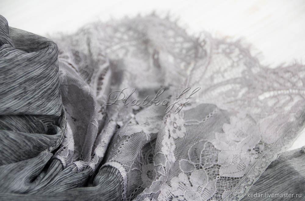 "Silk scarf ""luxury"" из ткани Valentino темное серебро, Палантины, Москва,  Фото №1"