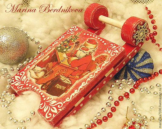 """Подарочные наборы ручной работы. Ярмарка Мастеров - ручная работа. Купить Новогодние саночки """"Дед Мороз"""". Handmade. Ярко-красный"""