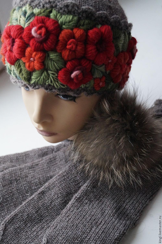Вышивка на вязаной шапке фото