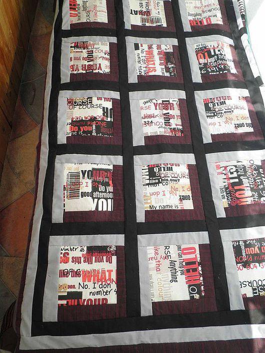 """Текстиль, ковры ручной работы. Ярмарка Мастеров - ручная работа. Купить Лоскутное покрывало  одеяло """"Газета""""(23 февраля). Handmade. Цветной"""