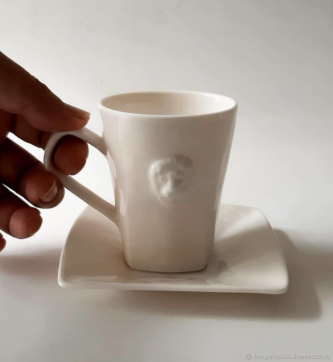 Кружки и чашки ручной работы. Ярмарка Мастеров - ручная работа. Купить Чашки: Кофейные чашки с блюдцами. Handmade. Фарфор
