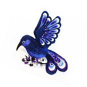 Brooches handmade. Livemaster - original item Ink bird. Felted brooch dark blue. Handmade.