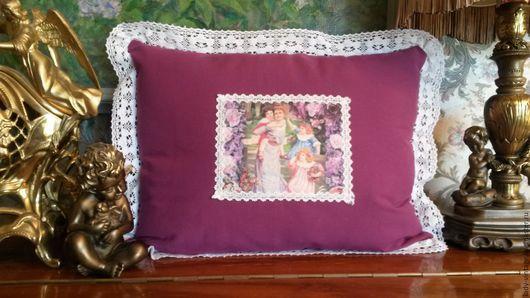 Текстиль, ковры ручной работы. Ярмарка Мастеров - ручная работа. Купить Винтажная подушка-2. Handmade. Бордовый, ретро