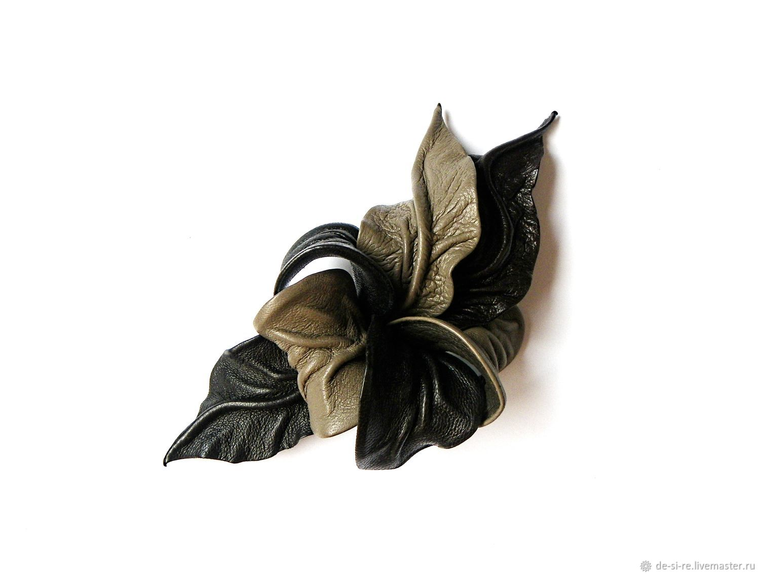 """Flower leather brooch Orchid """"Arkaim"""" toup dark brown, Hats1, Moscow,  Фото №1"""