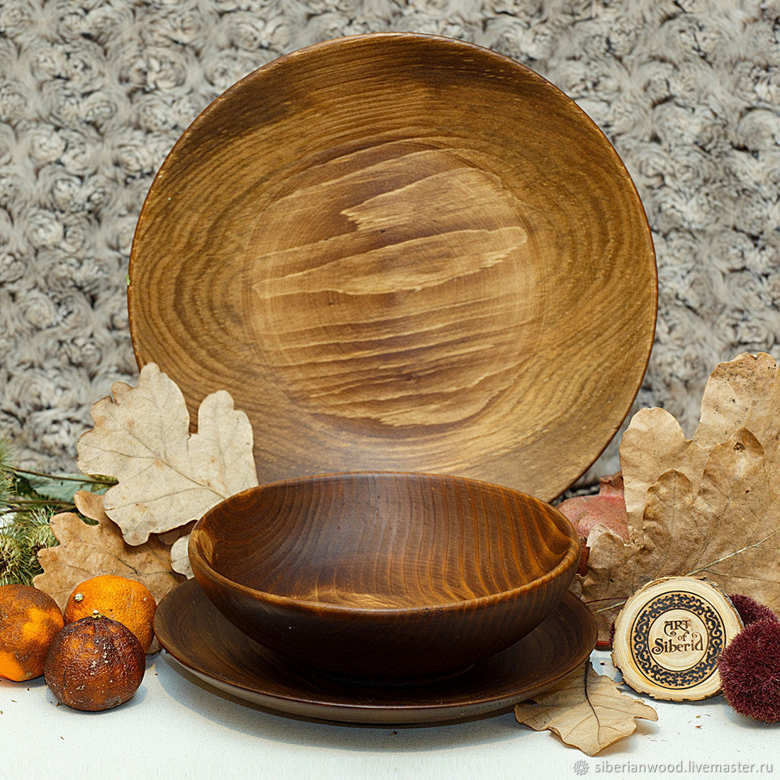 A set of Dining Plates from Siberian Fir(3#32, Plates, Novokuznetsk,  Фото №1