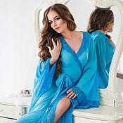 """Одежда ручной работы. Ярмарка Мастеров - ручная работа Будуарное платье """"Королева Океана"""" - длинное голубое с кружевом. Handmade."""