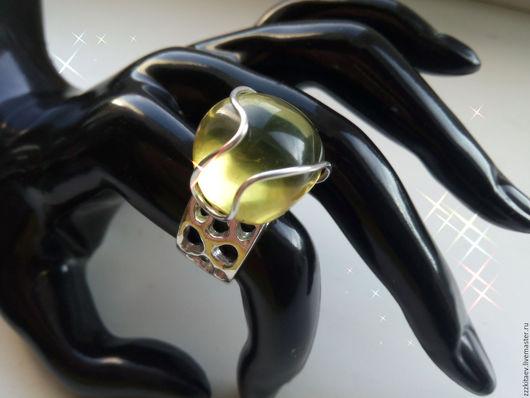 Кольца ручной работы. Ярмарка Мастеров - ручная работа. Купить перстень КАРИБСКИЙ ГИГАНТ. Handmade. Зеленый, карибский янтарь