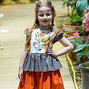 Работы для детей, ручной работы. Ярмарка Мастеров - ручная работа Платье летнее с вышивкой для девочки. Handmade.
