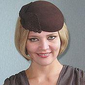 Аксессуары ручной работы. Ярмарка Мастеров - ручная работа Коричневая шляпка мини берет. Handmade.