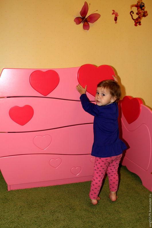 """Детская ручной работы. Ярмарка Мастеров - ручная работа. Купить Комод """"Сердечки"""". Handmade. Розовый, для девочек, мебель на заказ"""
