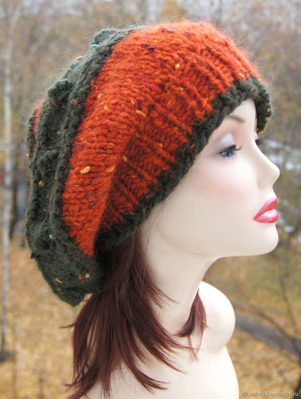 075efd56127db Berets handmade. Livemaster - handmade. Buy Takes boho knitted Orange bulk  of Icelandic wool ...