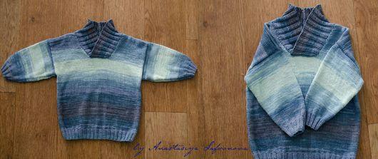 Кофты и свитера ручной работы. Ярмарка Мастеров - ручная работа. Купить Детский свитер. Handmade. Васильковый, свитер вязаный
