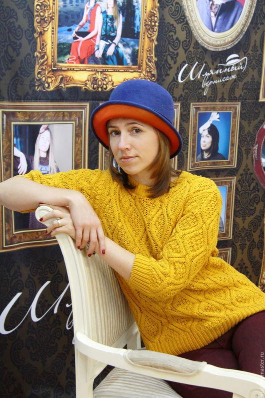 """Шляпы ручной работы. Ярмарка Мастеров - ручная работа. Купить Котелок-клош """"Яркие краски осени"""". Handmade. Тёмно-синий"""