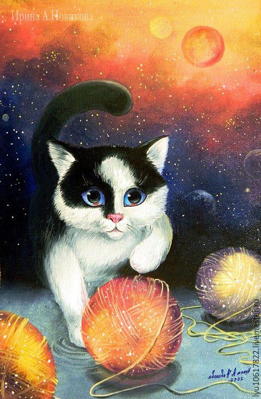 Авторская картина `Котёнок в космосе`, 2016 г. Ирина А.Новикова