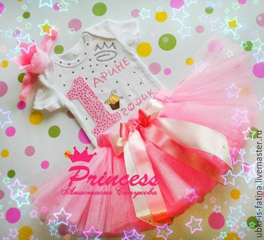 """Одежда для девочек, ручной работы. Ярмарка Мастеров - ручная работа. Купить Комплект """"Розовый"""" юбка пачка, боди, повязка. Handmade."""