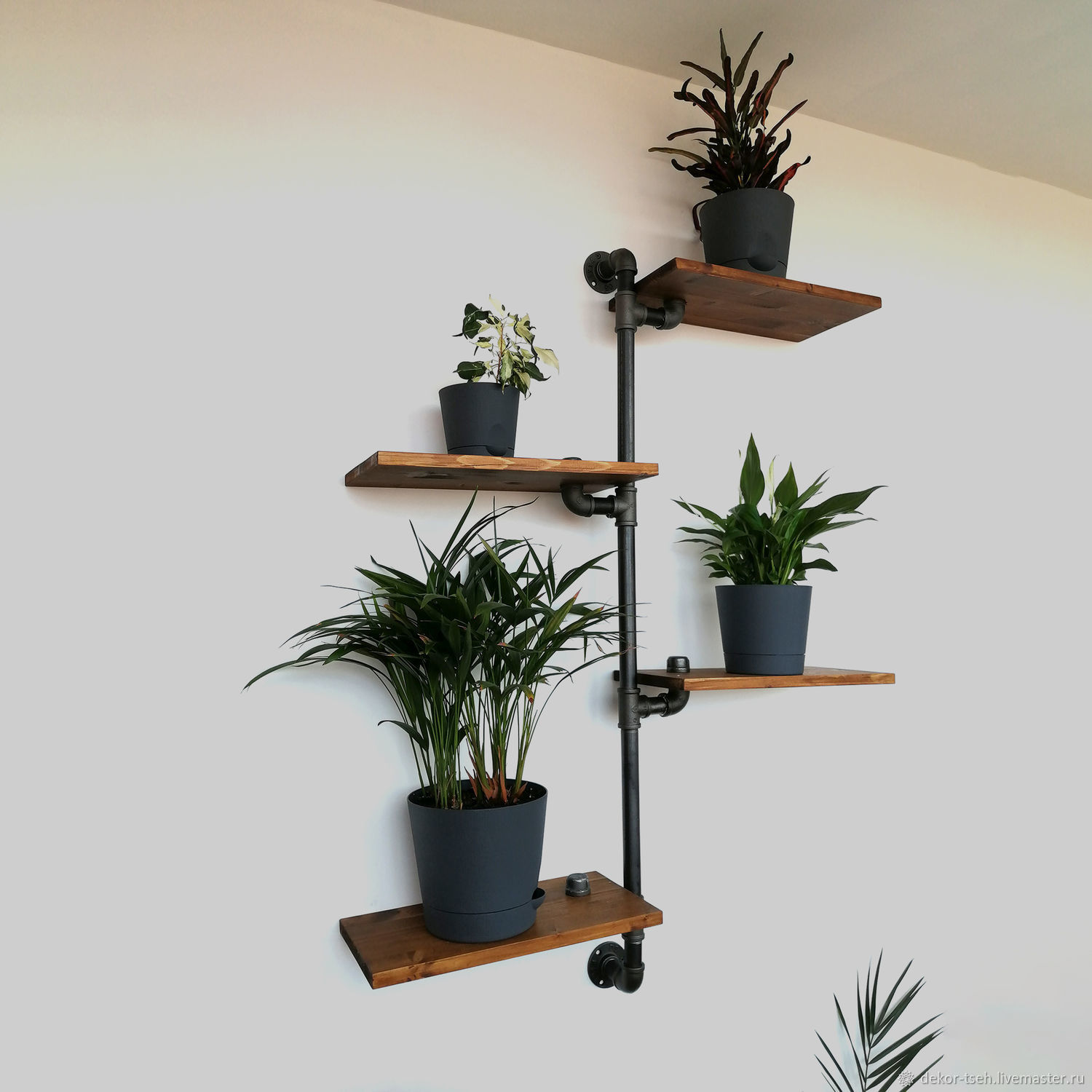 Copy of Copy of Industrial style wall shelves made of wood and pipes, Shelves, Chelyabinsk,  Фото №1