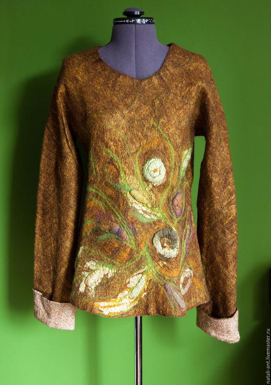 """Кофты и свитера ручной работы. Ярмарка Мастеров - ручная работа. Купить Двусторонний свитер """"Баобаб"""". Handmade. Разноцветный, волокна льна"""