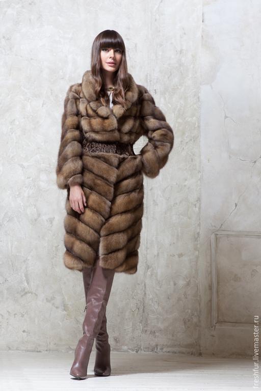 Верхняя одежда ручной работы. Ярмарка Мастеров - ручная работа. Купить Пальто из соболя с каракульчей SWAKARA. Handmade. Бежевый