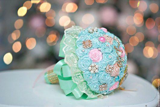 Свадебные цветы ручной работы. Ярмарка Мастеров - ручная работа. Купить Брошь букет Шеби Шик. Handmade. Комбинированный, свадьба