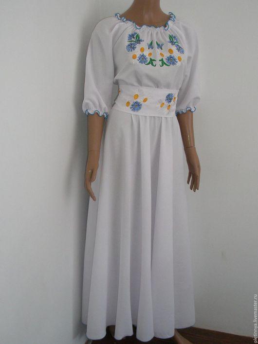 """Этническая одежда ручной работы. Ярмарка Мастеров - ручная работа. Купить платье """" льняное поле 2"""" с юбкой полусолнеклёш. Handmade."""