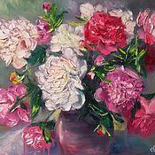 Картины и панно handmade. Livemaster - original item Oil painting with peonies, flowers