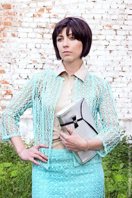 Одежда. Ярмарка Мастеров - ручная работа. Купить Костюм France 60-е годы винтаж. Handmade. Бирюзовый, винтажная юбка