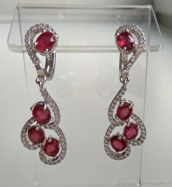 Серьги из серебра с рубинами, Серьги классические, Самара,  Фото №1