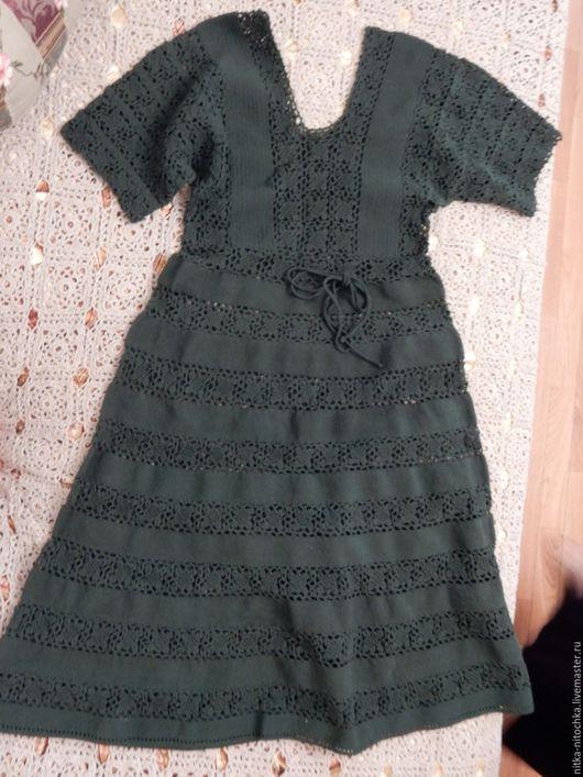 """Платья ручной работы. Ярмарка Мастеров - ручная работа. Купить Платье """"Ретро"""". Handmade. Тёмно-зелёный, хлопковое кружево"""