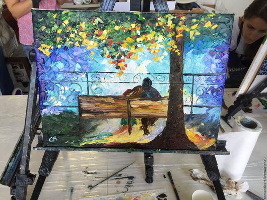 Люди, ручной работы. Ярмарка Мастеров - ручная работа. Купить Романтичная осень. Handmade. Любовь, парочка, красота, мастихин, мастихин
