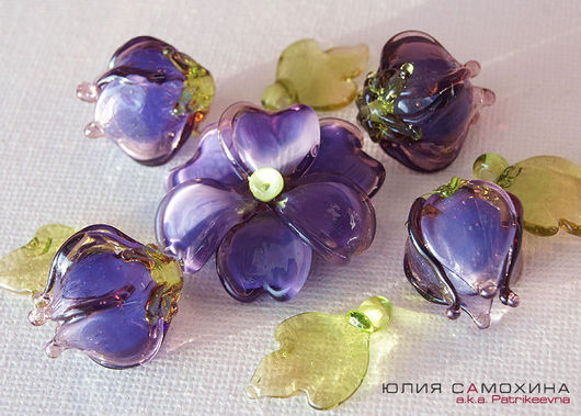 All for Jewelry Making handmade. Livemaster - handmade. Buy Set of beads-lampwork beads 'Purple'.Yulia samokhina