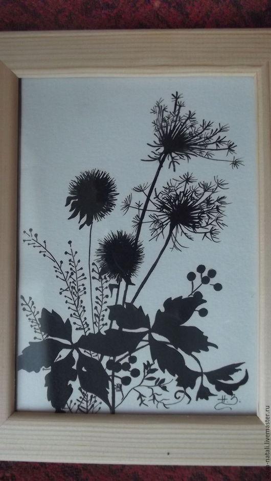 Картины цветов ручной работы. Ярмарка Мастеров - ручная работа. Купить Полевые цветы. Handmade. Черный, тушь