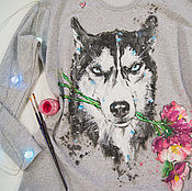 Одежда handmade. Livemaster - original item sweatshirt a-line Husky blue eyes. Handmade.