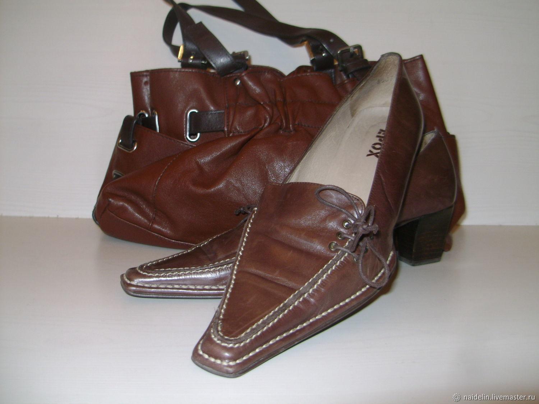 Винтаж: Туфли на каблуке с отстрочкой на 38,5 размер, Обувь винтажная, Москва,  Фото №1